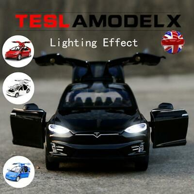 1:32 Diecast Tesla Sound And Light Model Toy Cars Alloy Pull Back Car Kids Gift • 12.66£
