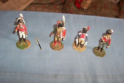 4 54mm Lead Napoleonic Soldiers Unknown Manufacturer • 8.99£
