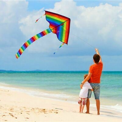 Colorful Rainbow Triangle Kite Outdoor Fun Sports Beach Kids Children UK • 4.49£