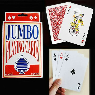 Jumbo Playing Cards 52 Family Pack Card Games Poker Magic Trick Plastic Coated • 1.60£