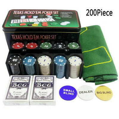 200x Texas Hold Em Poker Set In Case Casino Style Card Dealer Chips Accessories • 11.98£