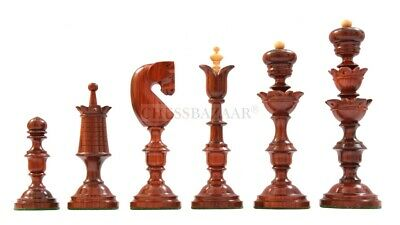 Repro Of Antique Biedermeier Wooden Chess Pieces In Bud Rosewood & Boxwood 5.5  • 265.99£