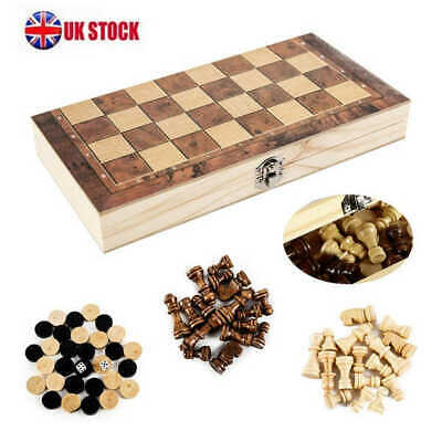 3in1 FOLDING WOODEN CHESS SET Board Game Checkers Backgammon Draughts Large • 9.65£