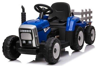 Kids Electric 12v Battery Ride On Tractor And Trailer - Blue • 137.95£
