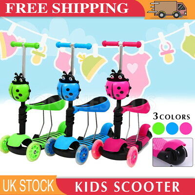 3 IN 1 Kids Child Scooter 3 Wheel Toddler Beginner Scooters Adjustable Seat UK • 21.99£