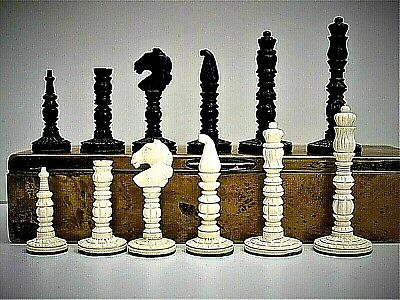 Vintage Styled Camel Bone Chess Set (K = 77 Mm/3 ) + Aged Wood Lined Brass Box. • 70£