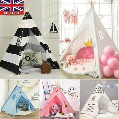 Cotton Canvas Kids Teepee Tent Childrens Wigwam Indoor Outdoor Play House Large • 20.98£