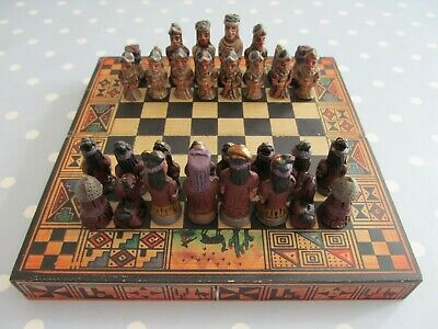Unusual Aztec / Conquistador Travel Chess Set Complete With Wooden Board / Box • 25£