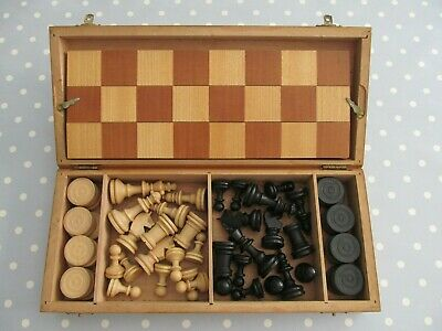 Vintage Wooden Chess / Draughts Set Complete In Box With A Folding Wooden Board • 25£