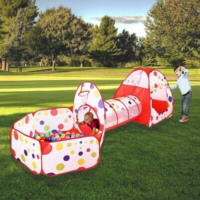 3 In 1 Play Tent House Tunnel Baby Kids Ball Pit Pool Indoor Outdoor Playground • 19.94£