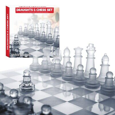 Chess & Draughts Set Glass Pieces And Board Set Frosted Clear Game Traditional • 10.99£