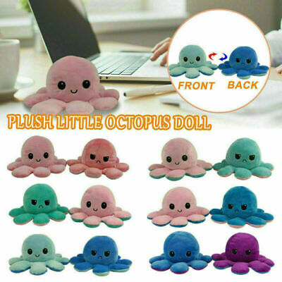 Reversible Octopus Plush Toys Double-sided Flip Octopus Happy Sad Doll Kids Gift • 4.99£