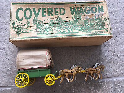 """Vintage """"A Modern Product"""" Covered Wagon Toy Model.  Boxed • 0.99£"""