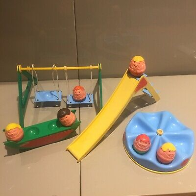 Vintage Weebles Playground Playset 70s Swing Slide See-saw Merry Go Round Park • 20£