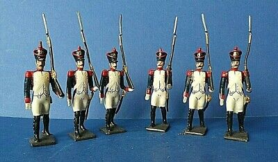 6 X Vintage CBG Mignot French Lead Marching Hussars Soldiers Napoleonic Wars  • 24£