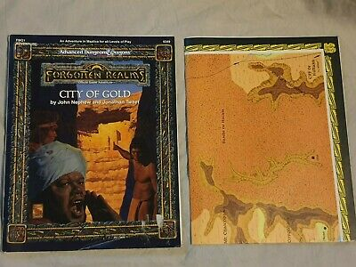 Advanced Dungeons & Dragons Forgotten Realms CITY OF GOLD  AD&D With Map • 0.99£