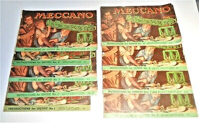 Meccano Lot Of 9 Instructions Books For Outfit 10 - Various Years - Complete • 49.99£
