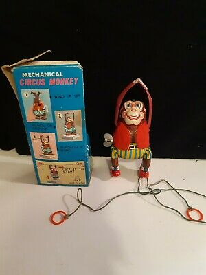 Mechanical Vintage Tin Plate Lithographed Monkey TPS Made In Japan 1967  • 28£