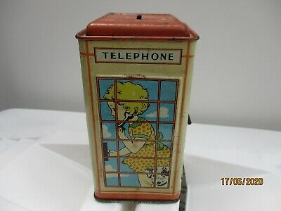 A Vintage Chad Valley Telephone Box Money Box Tin-1950's-Childs Vintage Toy. • 14.99£