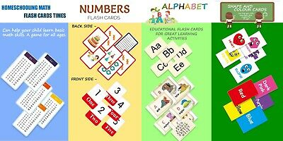 Children's Flash Cards Shapes Numbers Colours First Words A To Z Early Learning • 3.49£