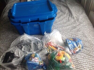 K'NEX  Blue Carry Box Including Wheels Motor, Chain & Many Construction Pieces • 12£