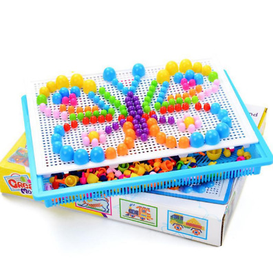 Children Kids Puzzle Peg Board With 296 Pegs Educational Toys Creative Xmas Gift • 10.99£