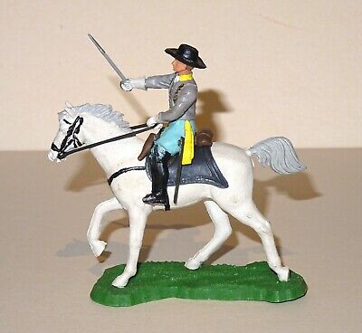 Vintage 1960's Britains Eyes Right Swoppet Acw Confed Mounted Officer - Great Co • 16£