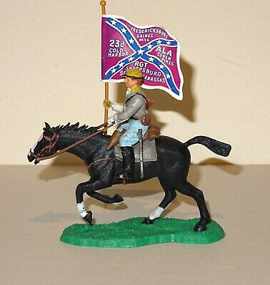 Vintage 1960's Britains Eyes Right Swoppet Acw Confed Mounted Trooper With Stand • 10£