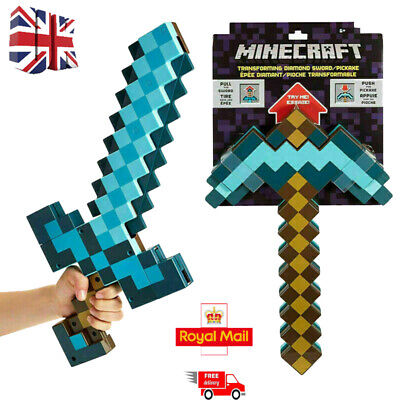2 In 1 Minecraft Games Transforming Diamond Sword And Pickaxe Hoe Toys Kids TOP • 21£