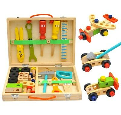 Wooden Construction Toolbox Kids Toy - Building Educational STEM Montessori Toy • 21.99£