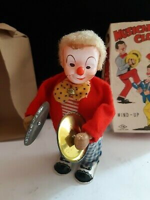 Vintage Tin Plate Musical Clown Wind Up Toy  1950's Made In Japan With Original • 26£
