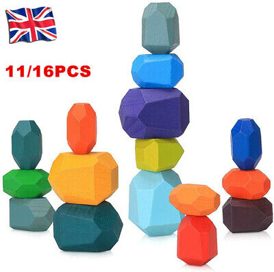 16PCS Creative Wooden Colored Stacking Balancing Stone Building Blocks Baby Toy • 10.99£