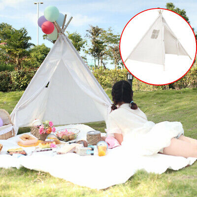 Large Canvas Children Indian Tent Teepee Kids Wigwam Indoor Outdoor Play White • 25.99£