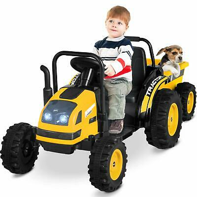Electric Ride On Tractor With Trailer Electric Tractor Motorized Vehicles Yellow • 109.99£