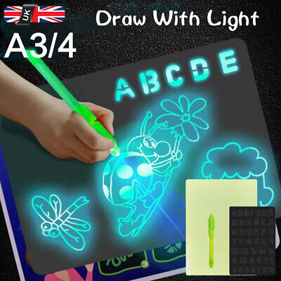 Draw With Light Drawing Board Fun Developing Toy Kids Educational Magic Painting • 9.99£