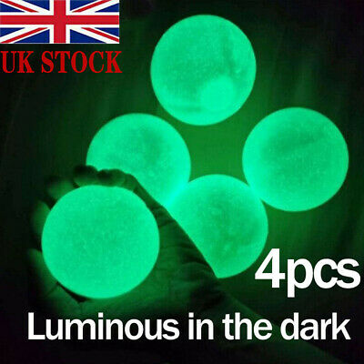 4PCS Fluorescent Sticky Wall Ball Sticky Target Ball Decompression Toy Kid Gift • 5.99£