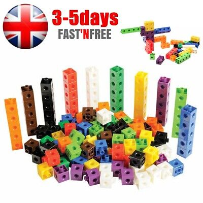 Maths Link Cubes Interlocking Snap Cubes Counting Snap Blocks Toy Gift Hot Sale • 9.62£