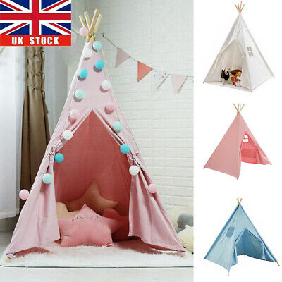 Large Canvas Children Indian Tent Teepee Kids Wigwam Indoor Outdoor Play House • 22.99£