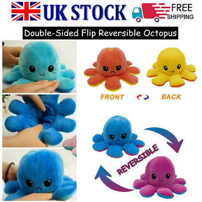Funny Double-Sided Flip Reversible Octopus Cute Plush Toys Animals Doll Gift UK • 5.99£