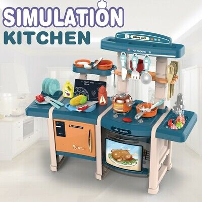 Role Play Kids Kitchen Playset With Real Cooking And Water Boiling Sounds Toy • 38.99£
