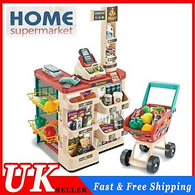 Kids Supermarket Shop Grocery Pretend Toy Trolley Playset Light Sound Play Gifts • 45.52£