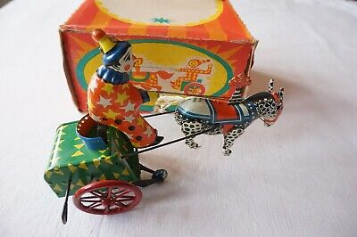 Russian Mechanical Clown And Horse Tin Wind Up Toy Boxed • 49.99£