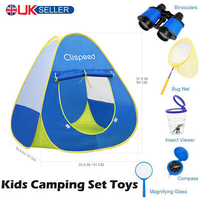 6x Kids Pop Up Play Tent Camping Gear Tools Pretend Play Toys Set Indoor Outdoor • 7.99£
