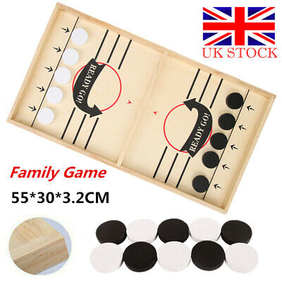 Large Family Game Wooden Fast Hockey Sling Puck Table Game Interactive Toy Gifts • 25.71£