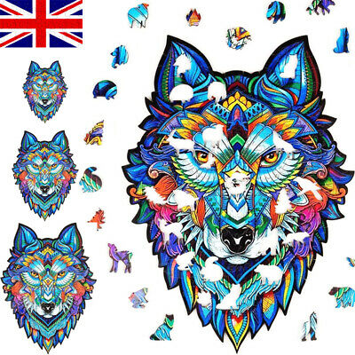 Wooden Puzzle Jigsaw Majestic Wolf Cartoon Puzzle Jigsaw Pieces Adult Kids Toy • 16.99£