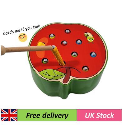 Wooden Magnetic Catch Worm Game Early Educational Toddlers Wooden Toy • 10.99£