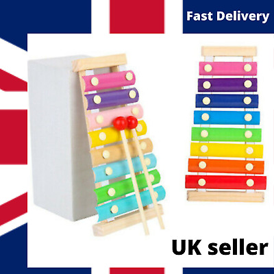 Xylophone Musical Wooden Kids Metal Instrument 8 Notes Toy Big Sale !  • 5.95£