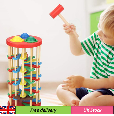 Wooden Toy With Hammer Knock The Ball Off The Ladder  • 13.65£