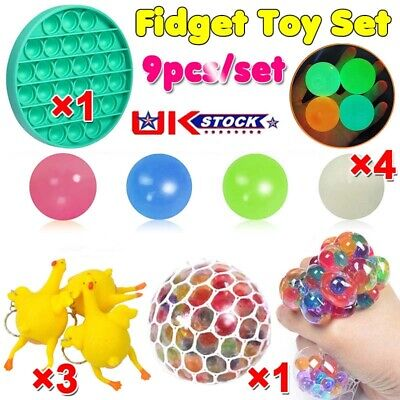 Fidget Sensory Toys Set 9 Pack For Stress Relief Anti-Anxiety Special Needs Gift • 10.43£