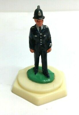 Vintage Plastic Figure Of A Policeman On Hexagonal Base Made In Hong Kong • 8£